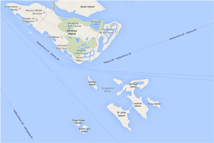 Map Southern Islds Yacht Rental in Singapore by SingExperience