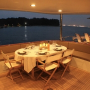 SuperYacht Boat Charter Singapore dining area